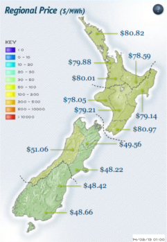 regional price of electricity in NZ